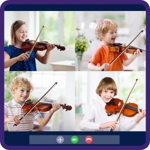 Kids having violin class via zoom